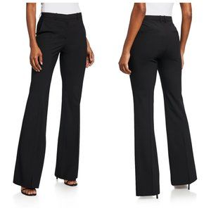 THEORY Black Wool Flared Trousers